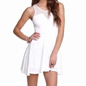 Kirra White Knit Skater Dress With Mesh S